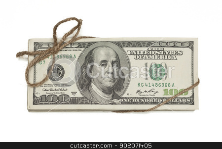 Stack of One Hundred Dollar Bills Tied in a Burlap String on Whi stock photo, Stack of One Hundred Dollar Bills Tied in a Burlap String Isolated on a White Background. by Andy Dean
