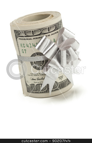 Roll of One Hundred Dollar Bills Tied Silver Bow on White stock photo, Roll of One Hundred Dollar Bills Tied in a Silver Bow on a White Background. by Andy Dean