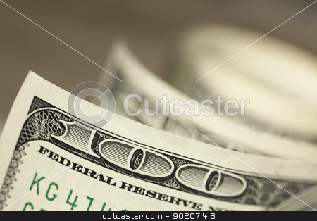 Abstract of One Hundred Dollar Bills stock photo, An Abstract of One Hundred Dollar Bills with Narrow Depth of Field. by Andy Dean