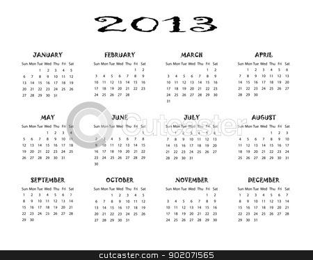 Calendar 2013 stock vector clipart, Black and white calendar 2013 by elaplan