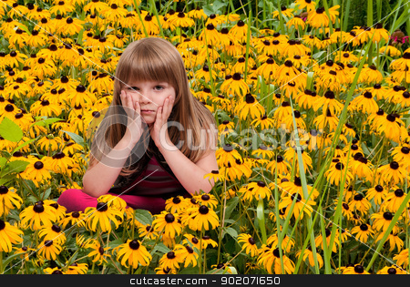 Girl in Blackeyed Susans stock photo, Beautiful little girl sitting in a field of Blackeyed Susans by Robert Byron