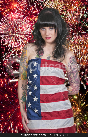 Woman at Fireworks  stock photo, Beautiful young woman at a firworks display by Robert Byron