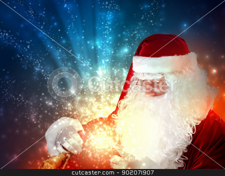 santa with a sack stock photo, father Christmas carrying presents in his sack by Sergey Nivens