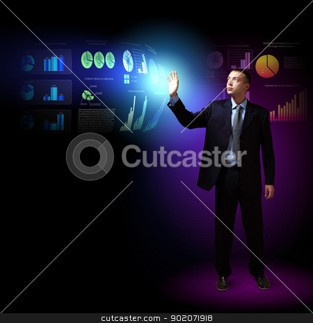 Modern people doing business concept stock photo, Modern people doing business, young businessman with money symbols by Sergey Nivens