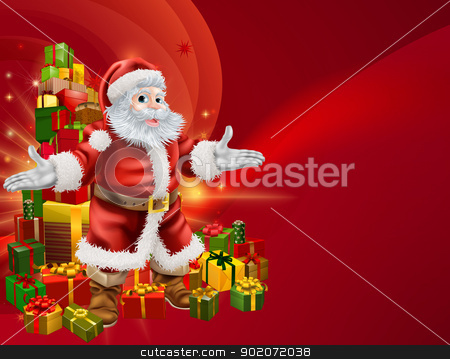 Santa and presents background stock vector clipart, Red Santa and a stack of presents background with lots of copyspace for you text on the right. by Christos Georghiou