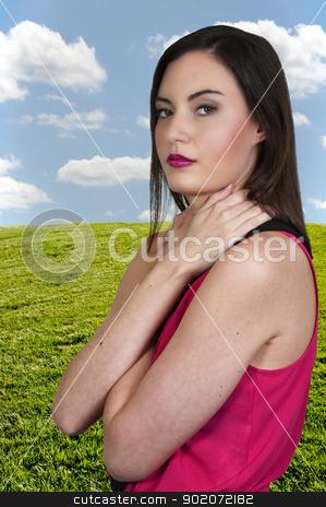 Beautiful Woman stock photo, A beautiful young woman looking far away by Robert Byron