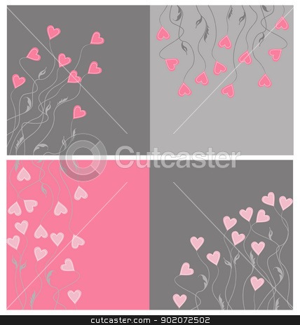 hearts stock vector clipart, set of colorful background with hearts by Miroslava Hlavacova
