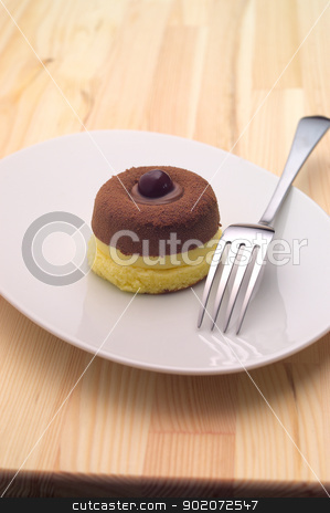 chocolate cherry cake stock photo, delicious fresh baked chocolate cherry cake closedup by Francesco Perre