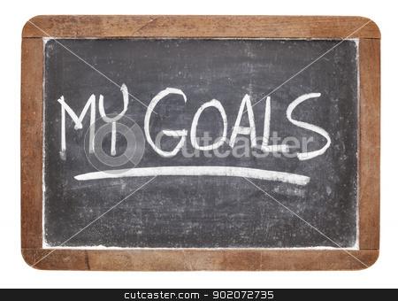 my goals on blackboard stock photo, my goals - white chalk handwriting on vintage slate blackboard by Marek Uliasz