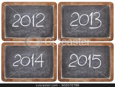 incoming years on blackboard stock photo, current and incoming years, 2012, 2013, 2014, 2015 on vintage slate  blackboards, isolated on white by Marek Uliasz