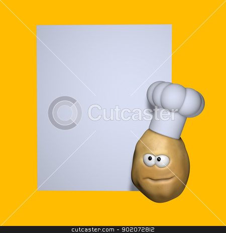 potato cook stock photo, funny potato with cook hat and blank white sign - 3d illustration by J?