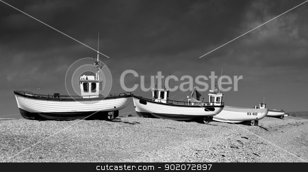 Boats on the shingle stock photo, Fishing boats on dungeness shingle beach. by Anthony Poynton
