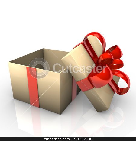 Opened Gift stock photo, Opened gift cartoon with red ribbons, white background. by Alexander Limbach