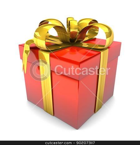 Red Gift stock photo, Red gift with golden ribbons on the white background. by Alexander Limbach