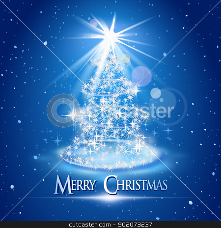 Christmas tree and light over blue background stock vector clipart, Christmas tree and light over blue background by Laurent Renault