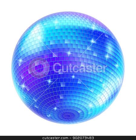 Mirror Disco Ball stock photo, Blue Disco Ball on white background for design by dvarg