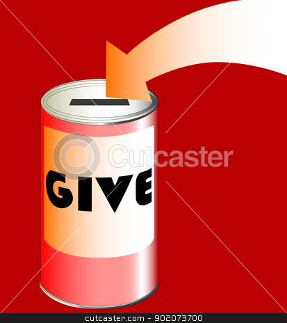 Charity Tin stock vector clipart, A red charity tin with pointing arrow. by Kotto