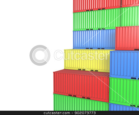 Group of freight containers, with blanks space stock photo, Group of freight containers, with blanks space, isolated on white background by Zelfit