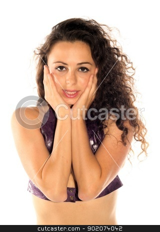 Brunette Woman stock photo, Brunette woman on white background with her hands up. by Henrik Lehnerer