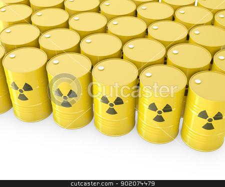 Barrels with radioactive symbol stock photo, Barrels with radioactive symbol, isolated on white background by Zelfit