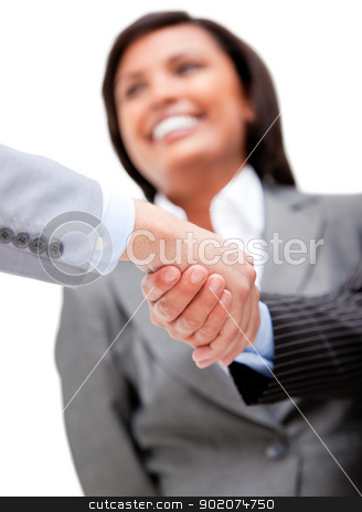 Cheerful businesswoman looking at her partners shaking hands stock photo, Cheerful businesswoman looking at her partners shaking hands. Business concept. by Wavebreak Media