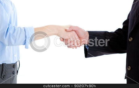 Close-up of a business people closing a deal  stock photo, Close-up of a business people closing a deal against a white background by Wavebreak Media