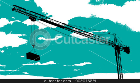Tower crane sketch stock vector clipart, Tower crane drawing over a cloudy background by Richard Laschon