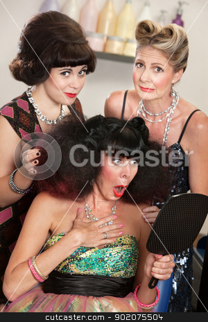 Upset Female in Beauty Parlor stock photo, Sympathetic friends and upset woman in beauty salon by Scott Griessel
