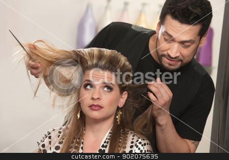 Embarrassed Hairdresser and Client stock photo, Embarrassed male hair stylist and female customer in salon by Scott Griessel