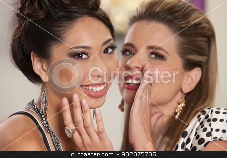 Smiling Friends Sharing Secrets stock photo, Smiling white female whispering secrets to her Asian friend by Scott Griessel