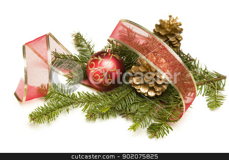 Christmas Ornaments, Pine Cones, Red Ribbon and Pine Branches on stock photo, Christmas Ornaments, Golden Pine Cones, Red Ribbon and Pine Branches Isolated on a White Background. by Andy Dean