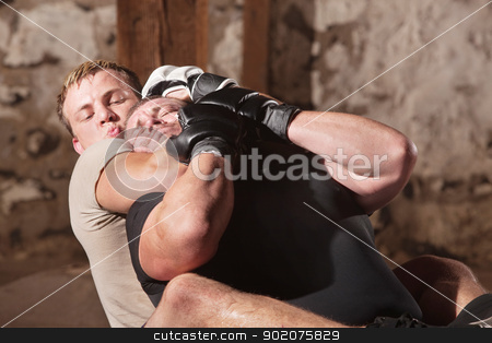 Man in Rear Choke Hold stock photo, European MMA athlete strangles opponent from behind by Scott Griessel