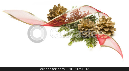 Pine Cones, Red Ribbon and Pine Branches Isolated on White stock photo, Christmas Pine Cones, Red Ribbon and Pine Branches Isolated on a White Background. by Andy Dean
