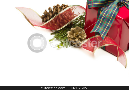 Christmas Present with Ribbon, Pine Cones and Pine Branches on W stock photo, Christmas Present with Ribbon, Pine Cones and Pine Branches Isolated  on a White Background. by Andy Dean