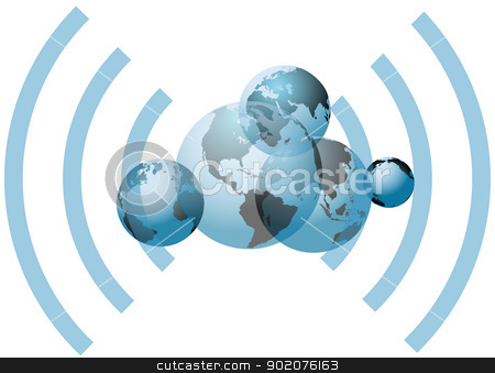 Global wifi network connection worlds stock vector clipart, Global wifi wireless network connects many worlds by Michael Brown