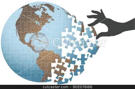 Person hand find global puzzle solution stock vector clipart, Woman hand puts puzzle together to find global solution by Michael Brown