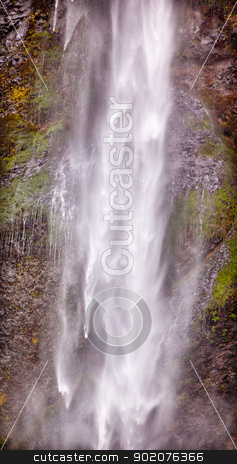 Long White Water Ribbon Multnomah Falls Waterfall Abstract Colum stock photo, Long White Water Spray Abstract Multnomah Falls Waterfall Columbia River Gorge, Oregon, Pacific Northwest by William Perry