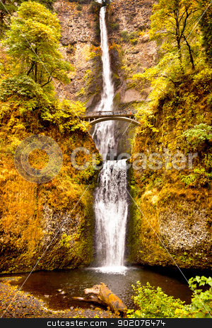 Multnomah Falls Waterfall Columbia River Gorge, Oregon Pacific N stock photo, Multnomah Falls Waterfall Autumn, Fall Bridge Columbia River Gorge, Oregon, Pacific Northwest by William Perry