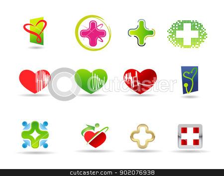 Medical and health icon set  stock vector clipart, Medical and health icon set isolated on background by Natashasha