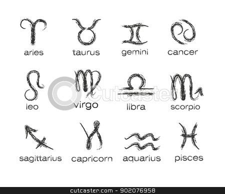 Horoscope paint brush zodiac vector signs  stock vector clipart, Horoscope paint brush zodiac vector signs  isolated on background by Natashasha