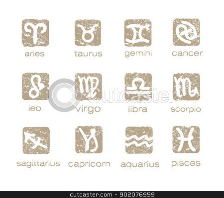 zodiac horoscope signs vector set  stock vector clipart, zodiac horoscope signs vector set  isolated on background by Natashasha