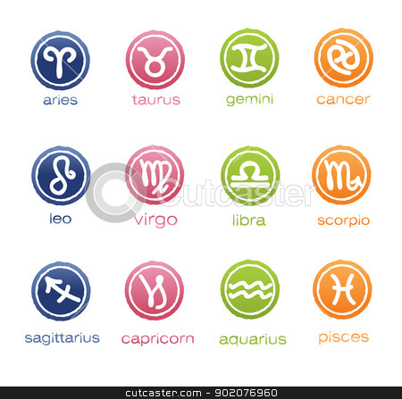 Colorful horoscope signs in badge form  stock vector clipart, Colorful horoscope signs in badge form  isolated on background by Natashasha