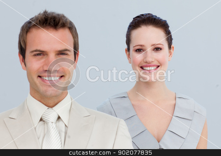 Portrait of a businesswoman with her male colleague stock photo, Portrait of a smiling beautiful businesswoman with her male colleague by Wavebreak Media