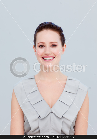 Portrait of a smiling beautiful businesswoman stock photo, Portrait of a beautiful businesswoman smiling at the camera by Wavebreak Media
