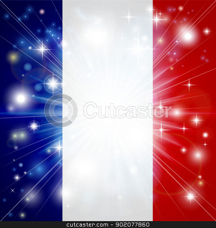 French flag background stock vector clipart, Flag of France background with pyrotechnic or light burst and copy space in the centre by Christos Georghiou