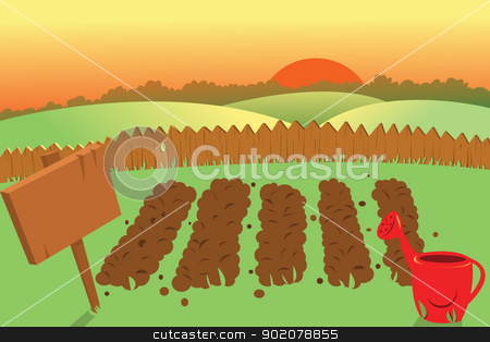 Sunset on a farm stock vector clipart, a vector cartoon representing a sunset scene on a vegetable garden by pcanzo