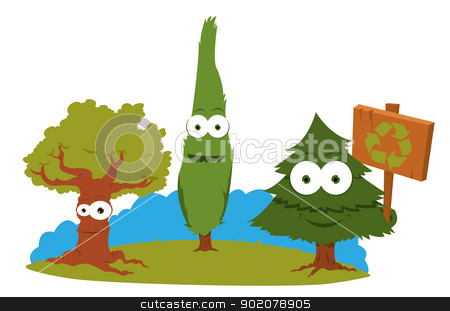 Funny Trees Holding A Recycling Sign stock vector clipart, a vector cartoon representing a group of funny trees holding a recycling sign by pcanzo