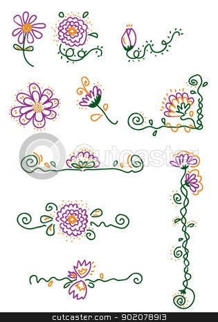 Flower Elements stock vector clipart, 10 vector cartoons representing some flower elements - every object is singly grouped by pcanzo