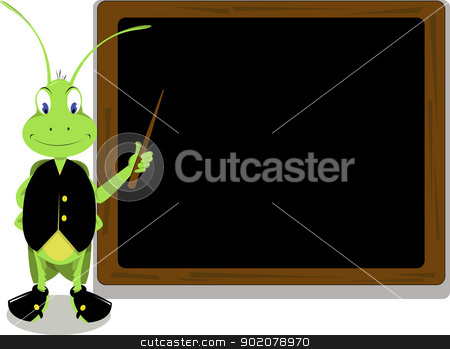 Mr. Cricket and a blackboard stock vector clipart, Mr. Cricket pointing at a blackboard by pcanzo