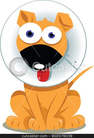 Funny Dog with Elizabethan Collar  stock vector clipart, a vector cartoon representing a funny dog wearing an elizabethan collar   by pcanzo